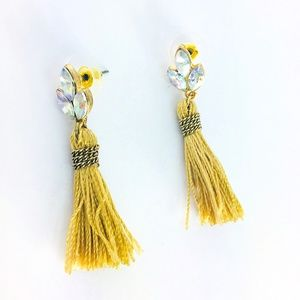 New! Holographic Oval Crystals Tassels Earrings